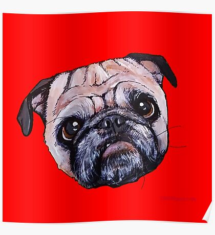 Butch the Pug - Red Poster