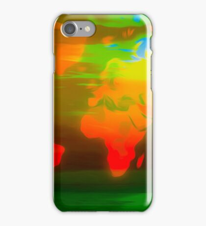 Green water world map iPhone Case/Skin