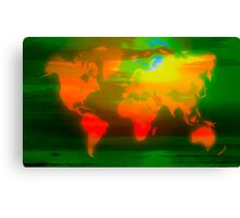 Green water world map Canvas Print