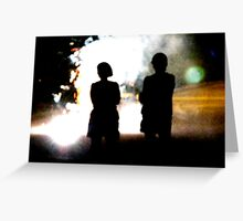 Silhouettes in a Fireworks World Greeting Card