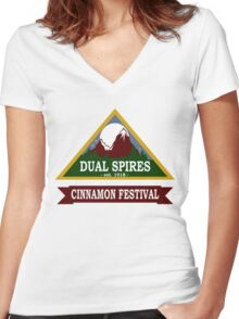 Dual Spires - Psych Women's Fitted V-Neck T-Shirt