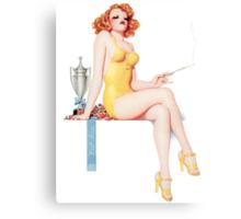 Tasty Pinups™ Vintage Red Head Smoking Hot Canvas Print