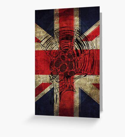 Union Jack Punk Skull - outline Greeting Card