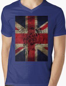 Union Jack Punk Skull - outline Mens V-Neck T-Shirt