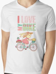 Cute rabbit riding a bike Mens V-Neck T-Shirt