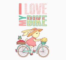 Cute rabbit riding a bike Unisex T-Shirt
