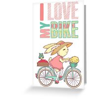 Cute rabbit riding a bike Greeting Card