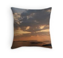 Sunset over Eigg from Arisaig. Throw Pillow