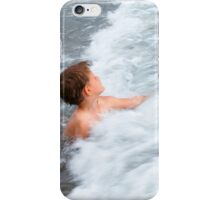 The happy boy is playing with waves iPhone Case/Skin