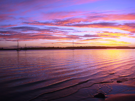Purple Bay-Boat Sunset by Martice