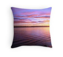 Purple Bay-Boat Sunset Throw Pillow