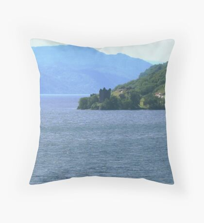 Down Loch Ness to Urquhart Castle Throw Pillow