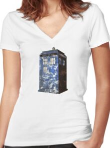 Dr Who Police Box T-Shirt Women's Fitted V-Neck T-Shirt