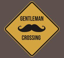 Gentleman Moustache Crossing caution sign. Kids Clothes