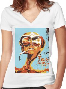 Fear and Loathing in Las Vegas Painting Women's Fitted V-Neck T-Shirt