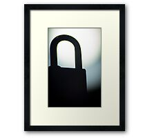 Combination code padlock silhouette photograph Framed Print