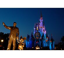 Walt, Mouse, and Castle Photographic Print