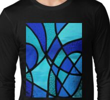 """Stained Glass Abstract """"Blues 2"""" Long Sleeve T-Shirt"""