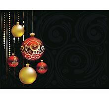 Red and Gold Christmas Balls Photographic Print