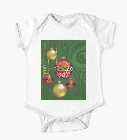 Red and Gold Christmas Balls 3 One Piece - Short Sleeve