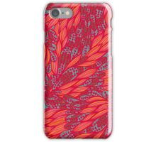 Floral pink and blue hand drawn doodle pattern iPhone Case/Skin