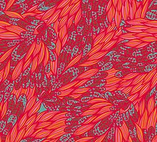 Floral pink and blue hand drawn doodle pattern by Patternalized