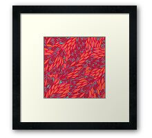 Floral pink and blue hand drawn doodle pattern Framed Print