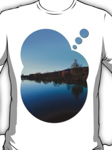 Indian summer sunset at the fishing lake   waterscape photography T-Shirt
