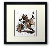 Jedi Knight from Star Wars with calligraphy Framed Print