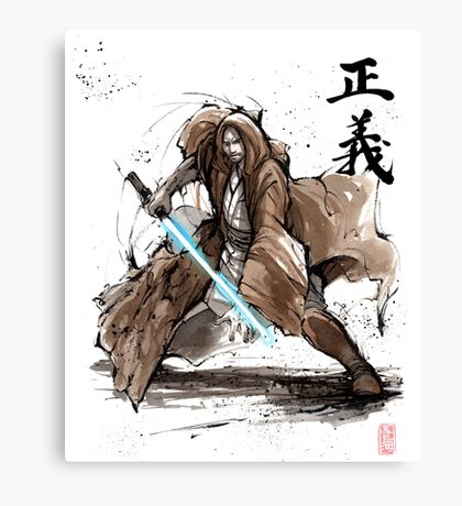 Jedi Knight from Star Wars with calligraphy Canvas Print