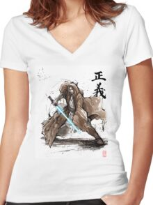 Jedi Knight from Star Wars with calligraphy Women's Fitted V-Neck T-Shirt