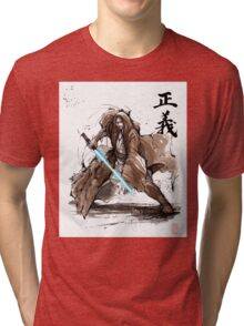 Jedi Knight from Star Wars with calligraphy Tri-blend T-Shirt