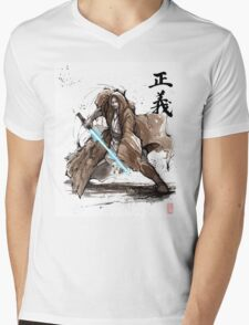 Jedi Knight from Star Wars with calligraphy Mens V-Neck T-Shirt