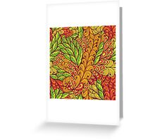 Orange and green bright doodle pattern Greeting Card