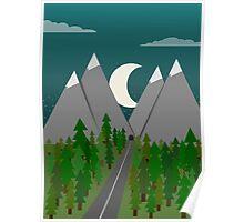 Moonrise Mountains Poster