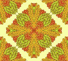 Green and orange ornamental rectangles by Patternalized