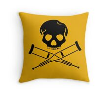 Skull with crutches. Throw Pillow