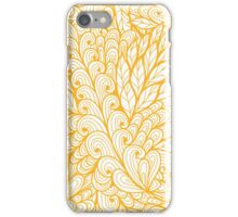 Orange and white doodle floral pattern iPhone Case/Skin