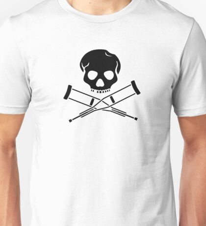 Skull with crutches. Unisex T-Shirt