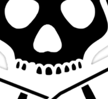 Skull with crutches. Sticker