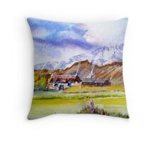 The little house on the prarie, Watercolour painting Throw Pillow