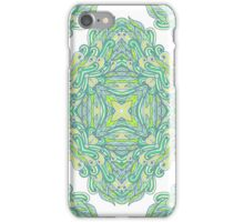 Hand drawn green ornamental rectangles iPhone Case/Skin