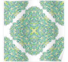 Hand drawn green ornamental rectangles Poster