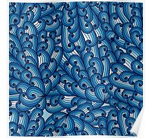 Vintage blue pattern with sky Poster