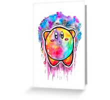 Cute Galaxy KIRBY - Watercolor Painting - Nintendo Jonny2may Greeting Card