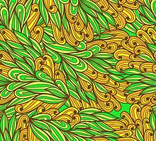 Orange and green bright doodle pattern by Patternalized