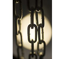 Steel chain links silhouette close-up at night Photographic Print