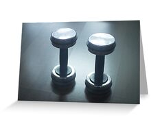 Dumbbell gym metal weights in gym health club Greeting Card
