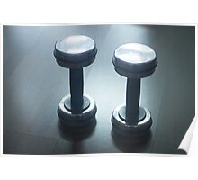Dumbbell gym metal weights in gym health club Poster