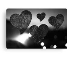 Four love hearts in silhouette night bokeh dof photo Canvas Print
